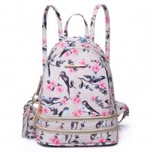 LT1704 - Miss Lulu Matte Oilcloth Small Fashion Bird Print Backpack Beige