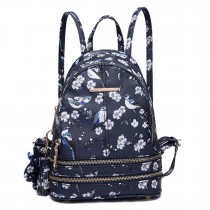 LT1704 - Miss Lulu Matte Oilcloth Small Fashion Bird Print Backpack Navy