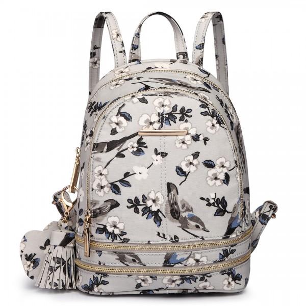 LT1704 - Miss Lulu Matte Oilcloth Small Fashion Bird Print Backpack Grey