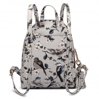 LT1704 - Miss Lulu Matte Oilcloth Small Fashion Bird Print Backpack Grey
