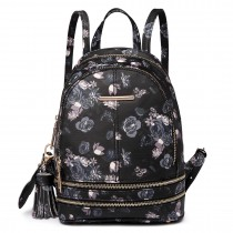 LT1704 - Miss Lulu Matte Oilcloth Small Fashion Rose Print Backpack Black