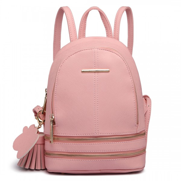 LT1705 - Miss Lulu Leather Look Small Fashion Backpack Pink