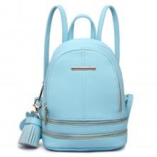 LT1705 -  Mlle Lulu Petit sac à dos Bleu avec apparence de cuir à la mode