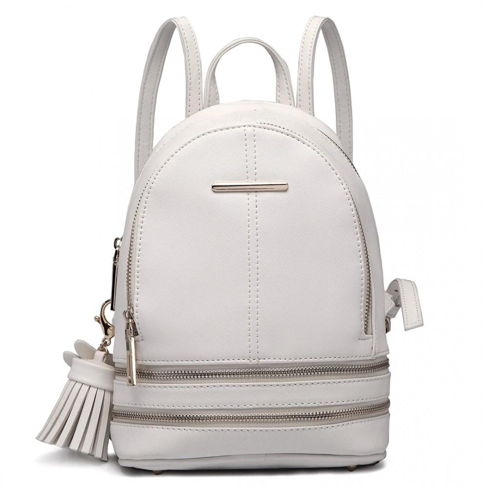 lt1705 mlle lulu petit sac dos blanc avec apparence de cuir la mode. Black Bedroom Furniture Sets. Home Design Ideas