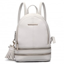LT1705 -  Mlle Lulu Petit sac à dos Blanc avec  apparence de cuir à la mode