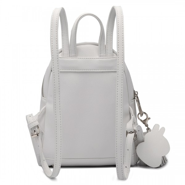 LT1705 - Miss Lulu Leather Look Small Fashion Backpack White