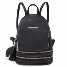 LT1705 - Miss Lulu Leather Look Small Fashion Backpack Black