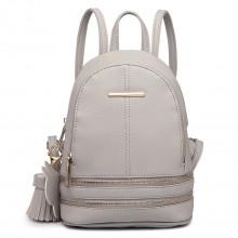 LT1705 -  Mlle Lulu Petit sac à dos Gris avec apparence de cuir à la mode