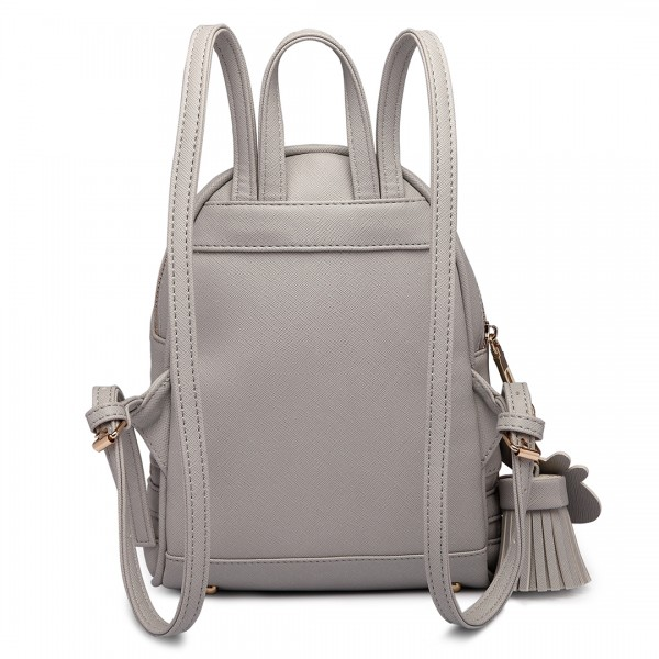 LT1705 - Miss Lulu Leather Look Small Fashion Backpack Grey
