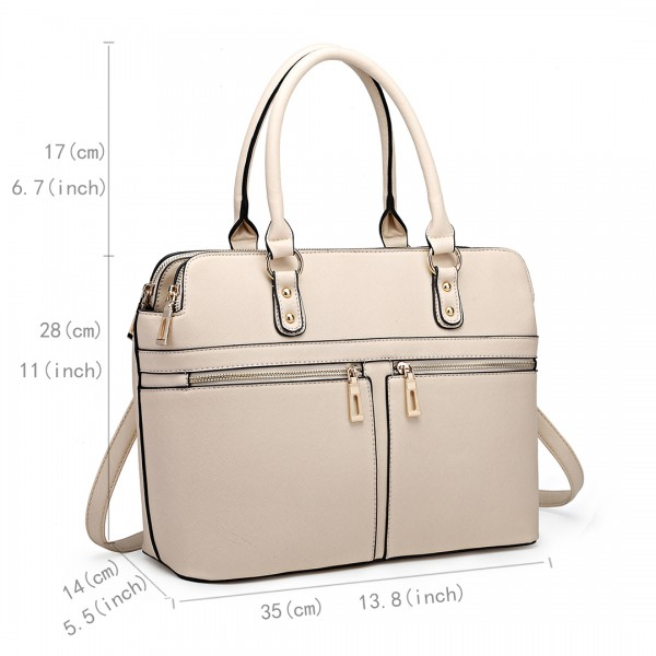 LT1706 - Miss Lulu Structured Classic Multi Compartment Shoulder Bag Beige