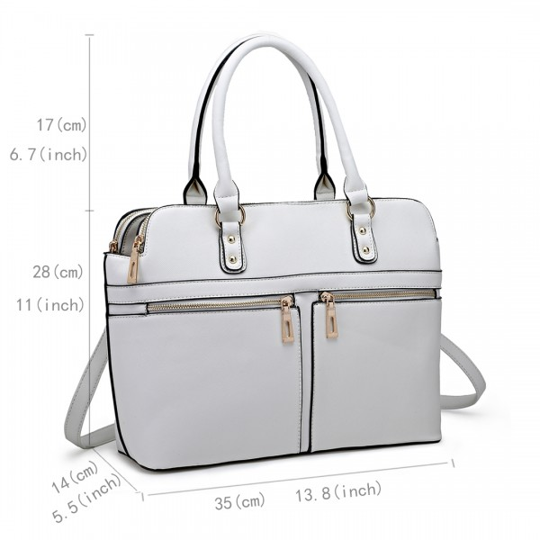 LT1706 - Miss Lulu Structured Classic Multi Compartment Shoulder Bag White