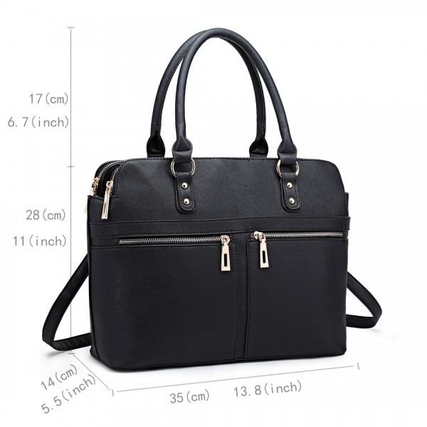 LT1706 - Miss Lulu Structured Classic Multi Compartment Shoulder Bag Black