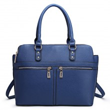 LT1706 - Miss Lulu Structured Classic Multi Compartment Shoulder Bag Navy