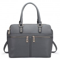 LT1706 - Miss Lulu Structured Classic Multi Compartment Shoulder Bag Grey