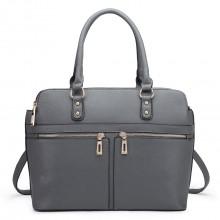 LT1706 - Miss Lulu Structured Classic Multi Compartment Shoulder Bag Grey