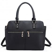 LT1706 - Miss Lulu Structured Classic Multi Compartment Shoulder Bag Black