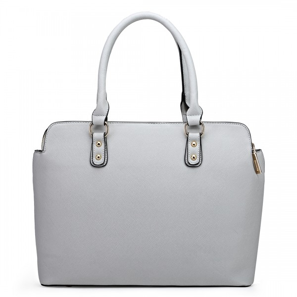 LT1706 - Miss Lulu Structured Classic Multi Compartment Shoulder Bag Light Grey
