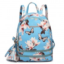 LT1707 - Miss Lulu Leather Look Small Fashion Floral Backpack Blue