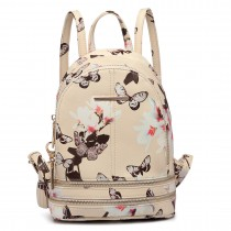 LT1707 - Miss Lulu Leather Look Small Fashion Floral Backpack Beige
