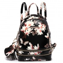 LT1707 - Miss Lulu Leather Look Small Fashion Floral Backpack Black