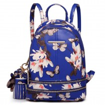 LT1707 - Miss Lulu Leather Look Small Fashion Floral Backpack Navy