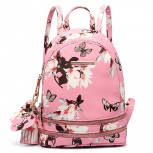 LT1707 - Miss Lulu Leather Look Small Fashion Floral Backpack Pink