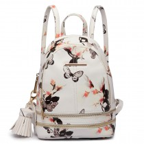 LT1707 - Miss Lulu Leather Look Small Fashion Floral Backpack White