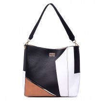 LT1708 - Miss Lulu Soft Slouchy Leather Look Colour Block Shoulder Bag Black