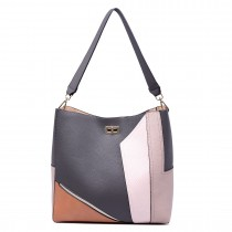 LT1708 - Miss Lulu Soft Slouchy Leather Look Colour Block Shoulder Bag Grey