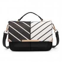 LT1713 - Miss Lulu Half and Half Striped Leather Look Shoulder Bag Black and White