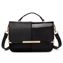 LT1713 - Miss Lulu Half and Half Patent Leather Look Shoulder Bag Black