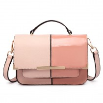 LT1713 - Miss Lulu Half and Half Patent Leather Look Shoulder Bag Pink