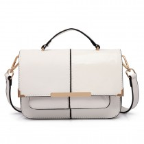 LT1713 - Miss Lulu Half and Half Patent Leather Look Shoulder Bag White