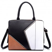 LT1714 - Miss Lulu Structured Leather Look Colour Block Shoulder Bag Black