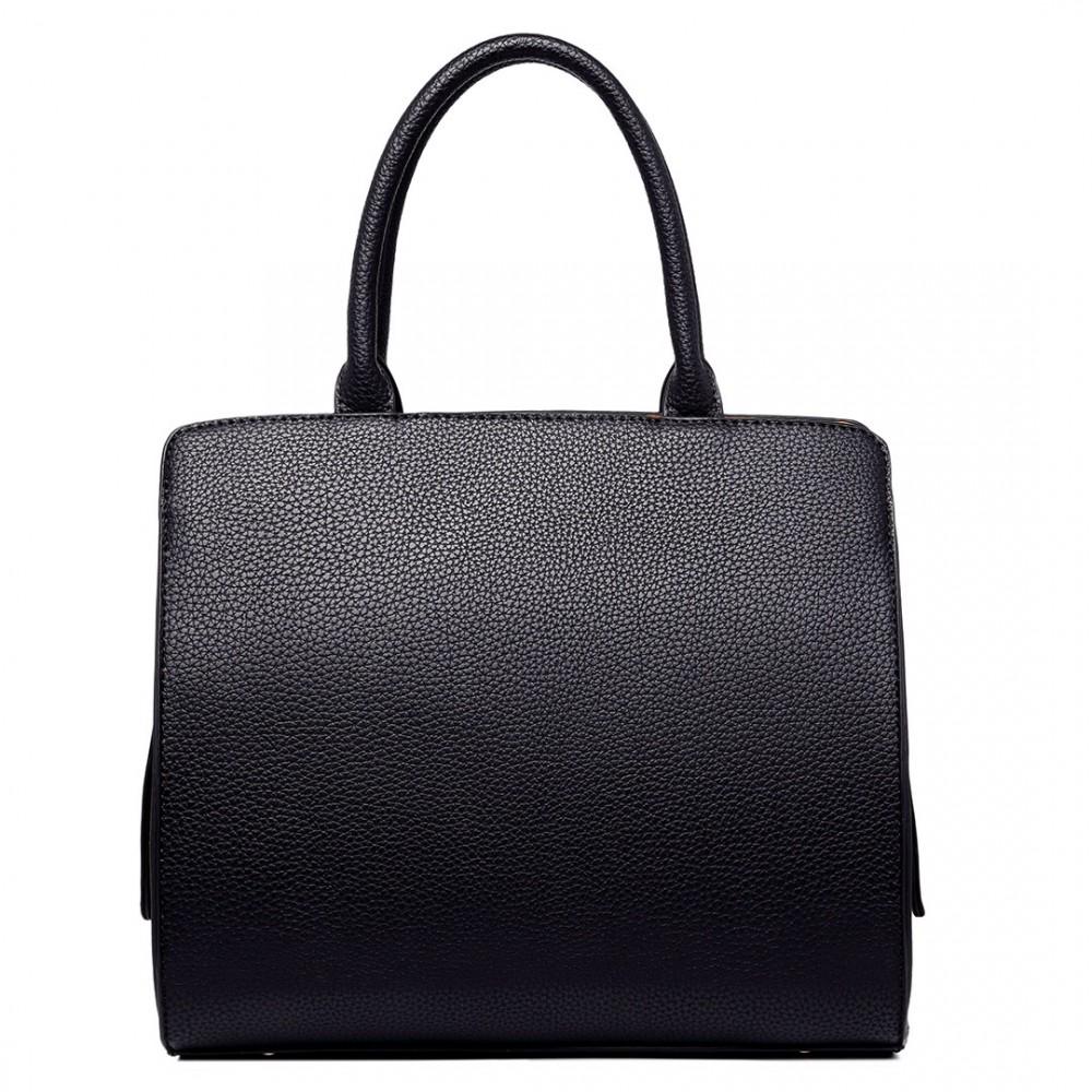 LT1714 - Miss Lulu Structured Leather Look Colour Block Shoulder Bag Black bc5c0f8c3a125