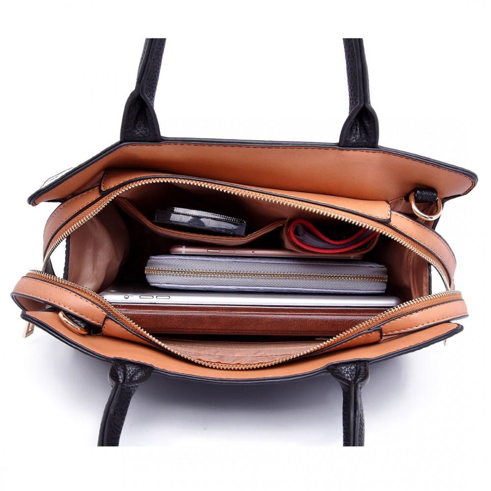 LT1714 - Miss Lulu Structured Leather Look Colour Block Shoulder Bag Grey d9c8c49bc5774