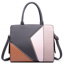 LT1714 - Miss Lulu Structured Leather Look Colour Block Shoulder Bag Grey