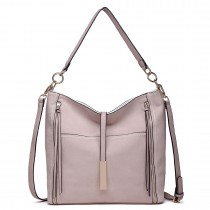 LT1715 - Miss Lulu Suede Effect Slouchy Shoulder Bag Beige