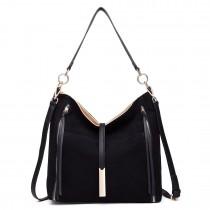 LT1715 - Miss Lulu Suede Effect Slouchy Shoulder Bag Black