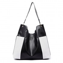 LT1721 - Miss Lulu Leather Look Slouch Hobo Shoulder Tote Bag Black and White