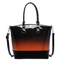 LT1722 - Miss Lulu Patent Leather Look Colour Fade Shoulder Bag Brown