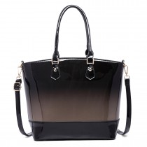 LT1722 - Miss Lulu Patent Leather Look Colour Fade Shoulder Bag Grey