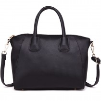 LT1723 - Miss Lulu Textured Medium Classic Tote Bag Black