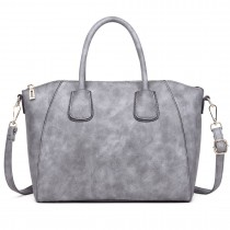 LT1723 - Miss Lulu Textured Medium Classic Tote Bag Grey