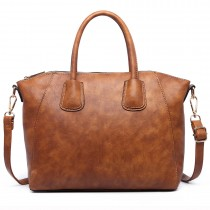 LT1723 - Miss Lulu Textured Medium Classic Tote Bag Brown