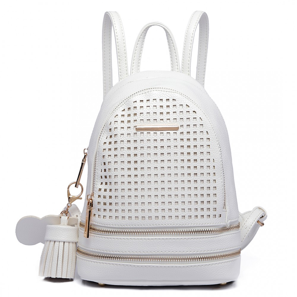 46e8d0b9b51a LT1725 - Miss Lulu Mesh Leather Look Small Fashion Backpack White