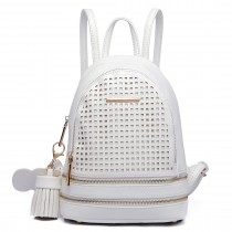 LT1725 - Miss Lulu Mesh Leather Look Small Fashion Backpack White