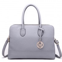 LT1726 GY - Miss Lulu Textured PU Leather Medium Size Classic Tote Bag Shoulder Bag Grey