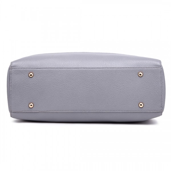 LT1726 GY - Miss Lulu Textured PU Leather Medium Size Classic Tote Bag Shoulder Bag Grey