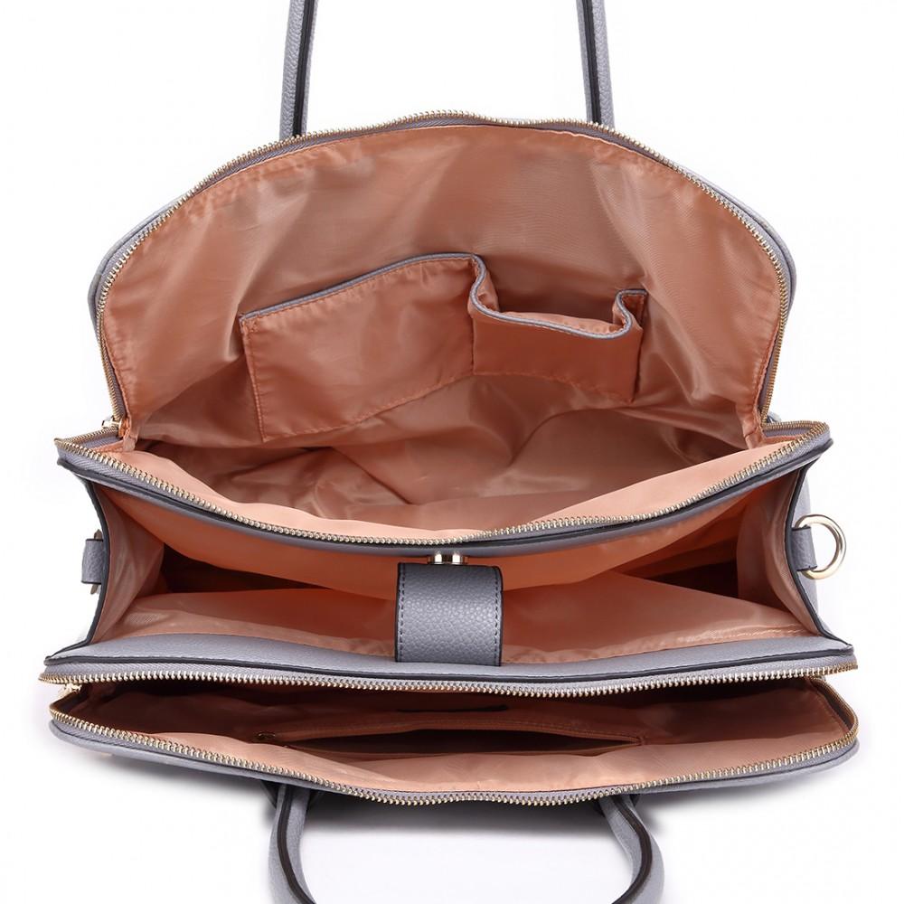 6b4ac22bac6e LT1726 GY - Miss Lulu Textured PU Leather Medium Size Classic Tote Bag  Shoulder Bag Grey